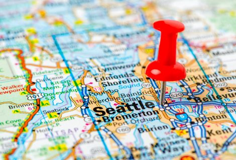 US capital cities on map series: Seattle, Washington state
