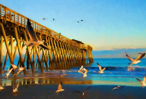 Flock of seagulls flying around the Myrtle Beach State Park pier during sunset. This is computer generated art from a photograph.