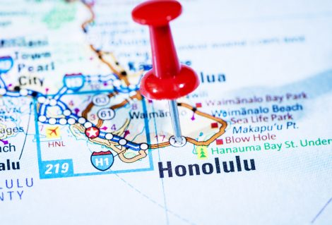 US capital cities on map series: Honolulu, Hawaii, HI