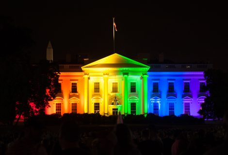 The White House is lit up in rainbow colors to celebrate the Supreme Court's opinion legalizing gay marriage in all fifty states