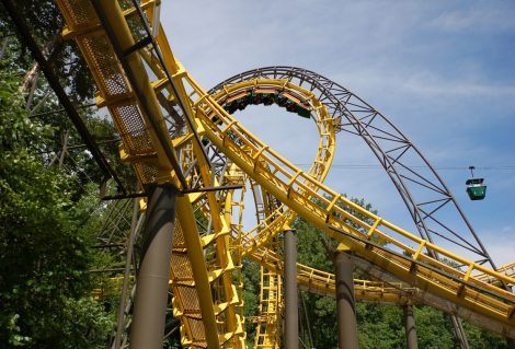 """""""Loch Ness"""" roller coaster with skyride passing nearby"""