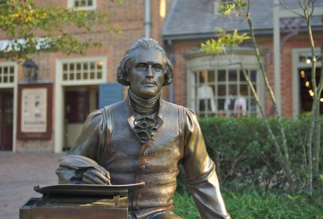 A statue of Thomas Jefferson in Colonial Williamsburg