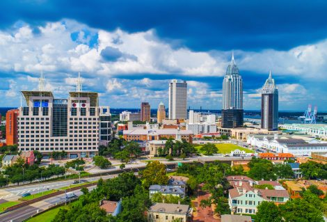 Drone Aerial View of Downtown Mobile Alabama AL Skyline