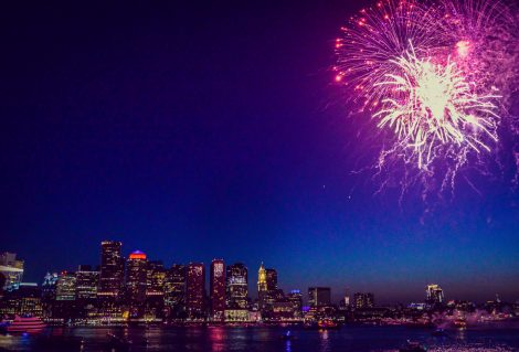Stunning fireworks display with an urban skyline. City of Boston ocean and sea with a celebration happening. Quintessential USA holiday New Years Eve or 4th Of July, special occasion in an urban city setting